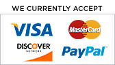 We currently accept Visa, Mastercard, and PayPal